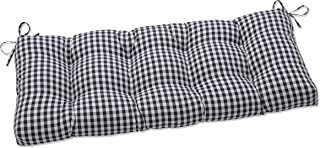 Pillow Perfect Indoor Dawson Pewter Outdoor Tufted Bench Swing Cushion, 44 X 18 X 5, Black