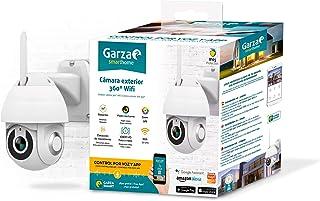 Garza Smarthome - Cámara Exterior WiFi Inteligente 360 para Seguridad, HD 1080p, visión Nocturna y Zoom, Control por Voz y App, Alexa, iOS, Google, Android