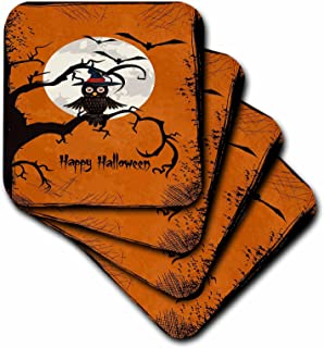 3dRose CST_65456_3 Halloween Owl on a Tree Branch with a Moon and Bats-Ceramic Tile Coasters, Set of 4