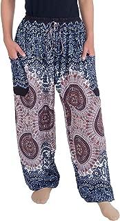 Lannaclothesdesign Women's Boho Drawstring Smocked Waist Rayon Harem Yoga Pants