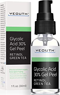 Glycolic Acid Peel 30% Professional Chemical Face Peel with Retinol, Green Tea Extract, Acne Scars, Collagen Boost, Wrinkl...