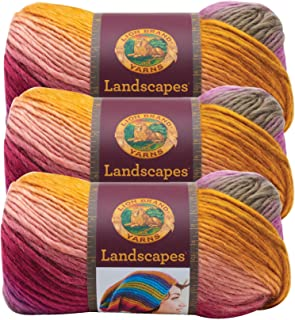 (3 Pack) Lion Brand Yarn 545-211 Landscapes Yarn, Coral Reef