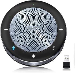 MAXHUB ワイヤレススピーカーフォン web遠隔会議用マイクスピーカーフォン 双方向通話 360˚全方向集音 ワイヤレス充電機能 最大10人まで対応 エコー・ノイズのキャンセリング 高音質 LED指示 USB/Bluetooth/AUX対応...
