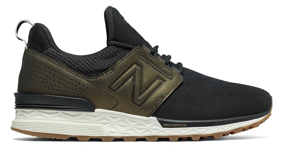 それらボード桃(ニューバランス) New Balance 靴?シューズ レディースライフスタイル Nubuck 574 Sport Black with Metallic Gold ブラック メタリック ゴールド US 10.5 (27.5cm)