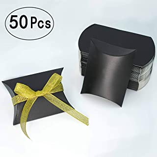 Black Kraft Paper Pillow Box Candy Treat Box Kit Gift Boxes with Gold Ribbon Wedding Favors Baby Shower Birthday Graduation Party Thank You Boxes Supplies, 50pc
