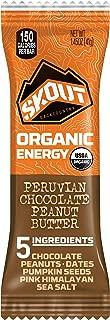 SKOUT Organic Energy Bars - Peruvian Chocolate Peanut Butter - Vegan Snacks - Plant Based Bars - Non-GMO - Gluten Free, Dairy Free, Soy Free - No Refined Sugar - 1.3 oz (12 Count)