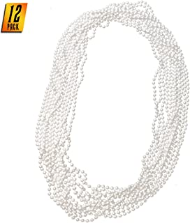 Skeleteen Faux White Pearl Necklaces - Pearl Beaded Necklace Party Favors - 12Pk