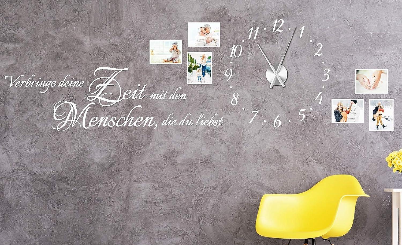 Tjapalo® w-pkm275 150x58cm Wohnzimmer Familie Wanduhr Wandtattoo Uhr ...