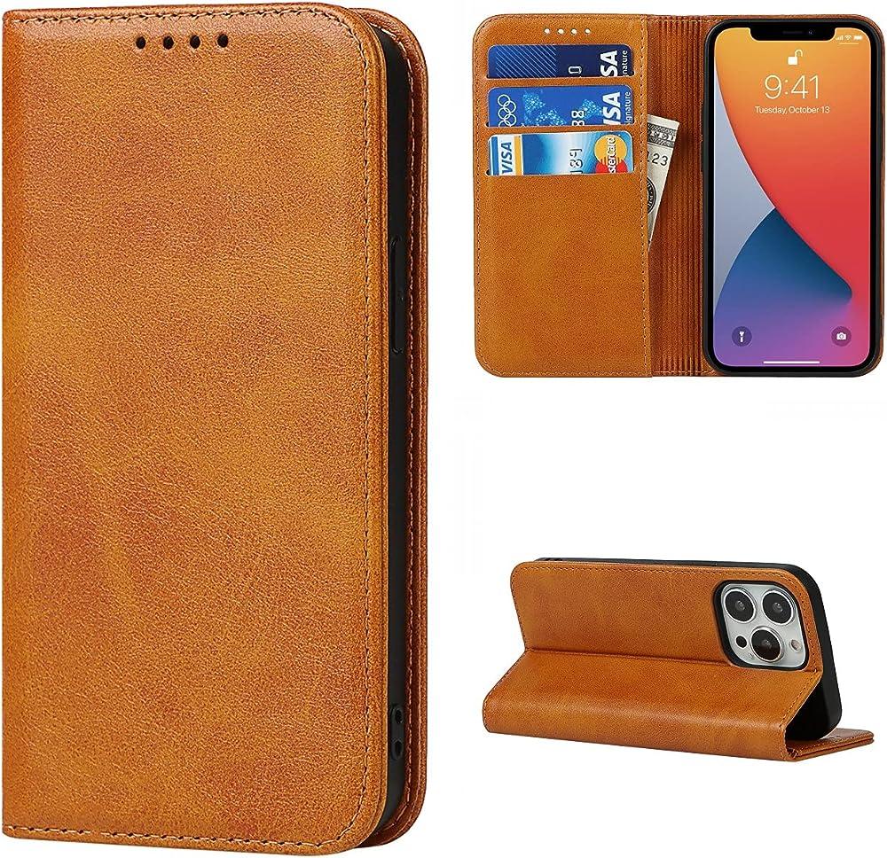 Copmob portacarte di credito portafogli custodia per iphone 13 pro Xnw i13 pro Light Brown