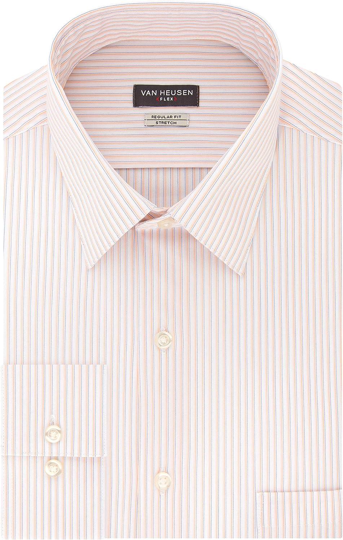 1920s Men's Shirts and Collars History Van Heusen Mens Dress Shirt Regular Fit Flex Collar Stretch Stripe  AT vintagedancer.com