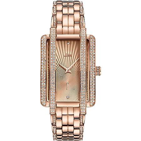 JBW Luxury Women's Mink 0.12 Carat Diamond & Swarovski Crystal Wrist Watch with Stainless Steel Bracelet