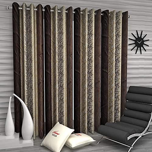 Home Sizzler Abstract Eyelet Polyester Long Door Curtain Set, 9ft (Set of 4)(Brown)