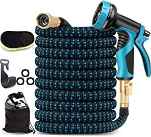 Expandable Garden Hose 50ft, Upgraded Leakproof Flexible Water Hose, with 10 Function Sprayer and 4-Layers Latex Core, Expanding Hose with 3/4