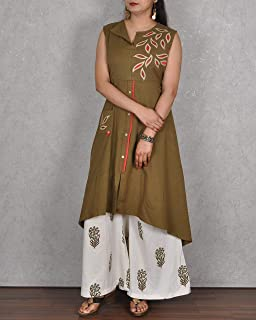 Kasturi-B Women's Khaki Sleeveless Kurta With Machine Embroidery And Printed Palazzo 2 Pc Dress