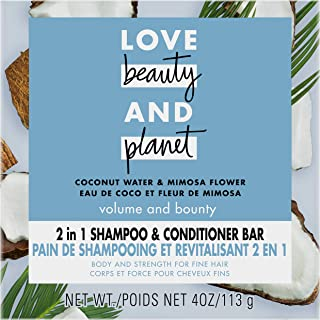 Love Beauty And Planet Volume and Bounty 2 in 1 Shampoo and Conditioner Bar for Thinning Hair Coconut Water & Mimosa Flowe...