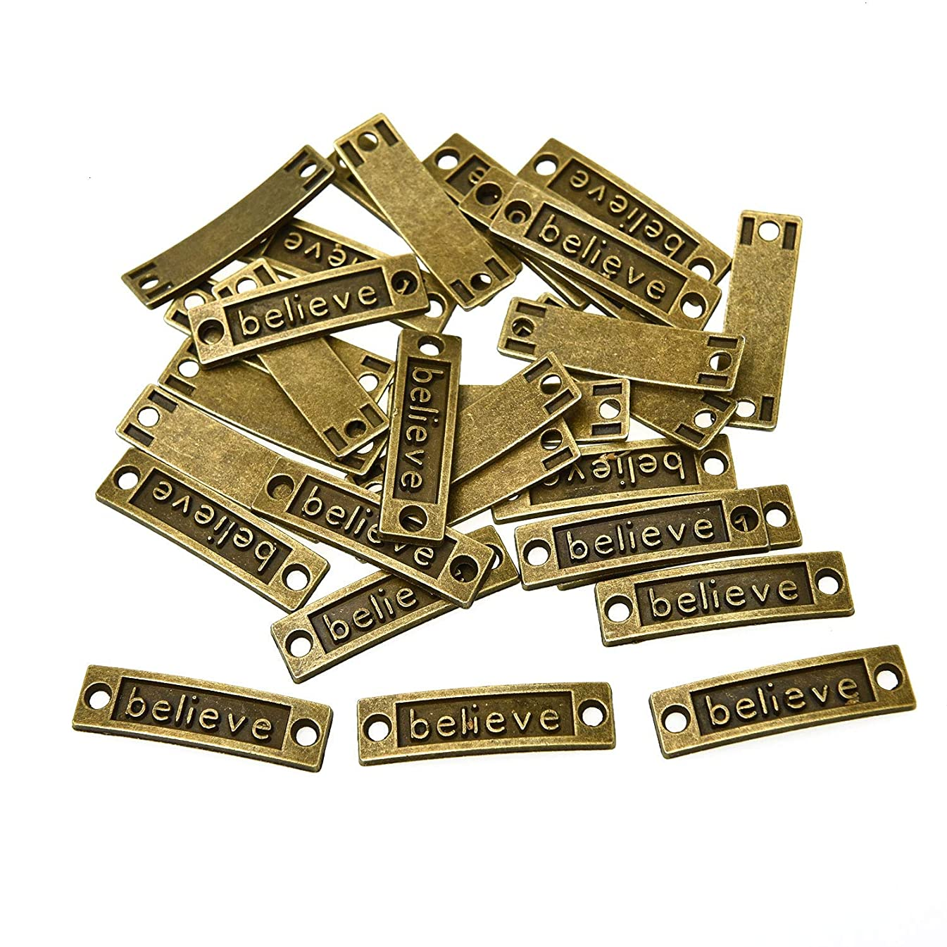 Monrocco 30 Pieces Inspirational Message Connector Charms Believe Connector Charms for DIY Bracelet Jewelry Making Findings, Antique (Bronze Tone)