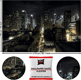 GREAT ART New York Tapiz de Pared - Manhattan Noche NYC America Poster USA 210 x 140 cm - Papel Tapiz 5 Piezas Incluye Pasta