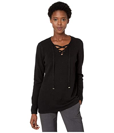 Calvin Klein Lace-Up Sweater (Black) Women