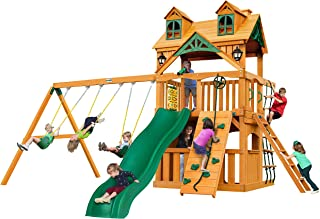 Gorilla Playsets 01-0072-AP Chateau Clubhouse Wood Swing Set with Malibu Wood Roof, Rock Climbing Wall, Slide, Entry Ladder, Two Belt Swings, Amber