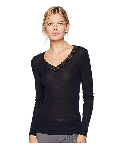 Hanro Woolen Lace Long Sleeve Shirt (Black) Women