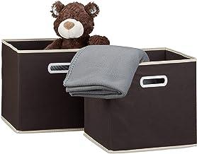 Relaxdays Folding Set of 2, Square, Size: 30 x 30 x 30 cm, Storage, Shelf Box, Brown