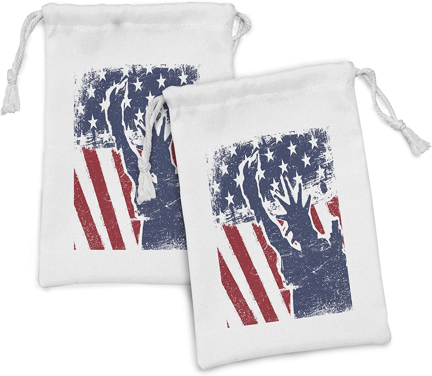 Lunarable American Flag Fabric Pouch Silhouett 2 Seattle Mall of trend rank Set Liberty