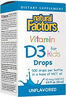 Natural Factors, Vitamin D3 Drops 400 IU, Supports Strong Bones, Teeth and Immune Function with Flaxseed, Palm and Coconut...