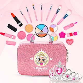 ROYI Makeup for Kids, 23 Pieces Safe and Washable Makeup Toys with Princess Crown, Portable Girls Play Dress Up Cosmetics ...