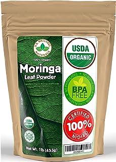 Moringa Powder 1LB (16Oz) 100% CERTIFIED Organic Oleifera Leaf - (100% PURE LEAF | NO STEMS) - Raw from Egypt | Smoothies | Drinks | Tea | Recipes - Resealable Bag