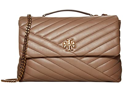 Tory Burch Kira Chevron Convertible Shoulder Bag (Classic Taupe) Handbags