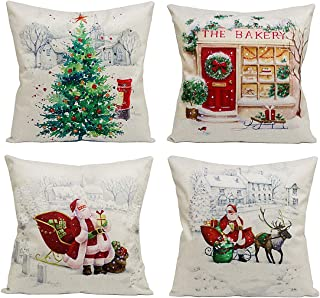 Christmas Decorations Pillow Covers - 4 Pack Xmas Tree Snowman Reindeer Couch Throw Pillow Cases for Merry Christmas Home Sofa Decoration, 18 x 18 Inch