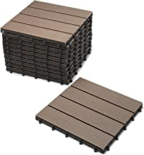 Junado 11er spaarset WPC terras- & tuintegels kliktegel voor 1 m², vloerbedekking met drainage, 30 x 30 cm, chocoladekleur