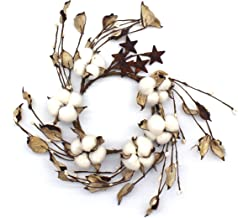 CVHOMEDECO. Primitives Rustic Pod Pip Berries and Autumn Leaves with Rusty Barn Stars Wreath, 12-Inch