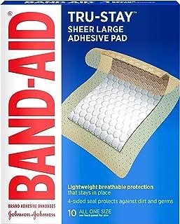نوارهای چسب Tru-Stay با نام تجاری Band Aid ، باندهای استریل بزرگ برای مراقبت از زخم ، اندازه بزرگ ، 10 سی تی