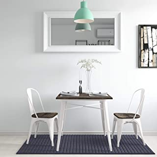 DHP Fusion Square Table Chairs, White Metal/Wood, 3 Piece Dining Set,