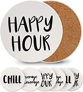 Coasters for Drinks, Absorbent Drink Coasters Set, Cool Bar Cup Coasters, White Round Ceramic Coasters with Cork Backing - Set of 6, 4x4 Inches Ceramic Coasters