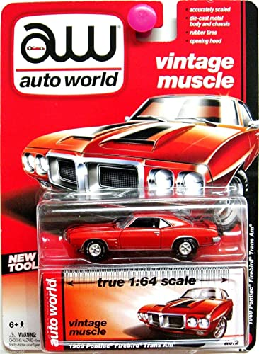 AUTO WORLD VINTAGE MUSCLE TRUE 1 64 SCALE Orange 1969 PONTIAC FIREBIRD TRANS AM DIE-CAST, AW 1969 PONTIAC TRANS AM DIE-CAST by Auto World