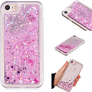 iPhone 7 Case, iPhone 8 Case, KMISS Mirror Luxury Glitter Liquid Floating Bling Sparkle Fashion Creative Design Mirror Bumper Protective Cover iPhone 7 / iPhone 8 (Pink)