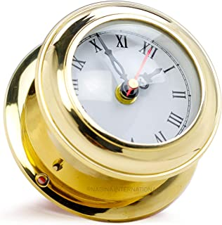 Nagina International, Solid Brass Ships Clock Maritime Gimbals Ship's Timekeeper