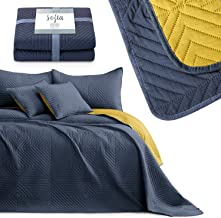 AmeliaHome Narzuta na łóżko antracyt żółty 170x270 pikowana Poliester Softa