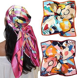 "35"" Large Satin Square Head Scarf - 2Pcs Silk Like Floral Head Scarves Square Satin Hair Scarf Bandanas for Women"