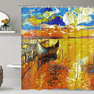 Smurfs Yingda Boat Shower Curtain Sunset Bathroom Curtain Watercolor Oil Painting Shower Curtain Colorful Sky and Seabirds Shower Curtain Durable Waterproof with Hooks
