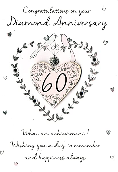 60th Diamond Anniversary Greeting Card Second Nature Just To Say Cards