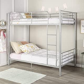 WE Furniture AZTOTSL Modern Metal Pipe Twin Bunk Kids Bed Bedroom, Silver