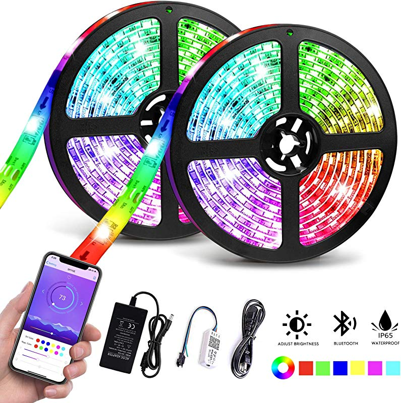 LED Strip Lights Waterproof 32 8ft 10M Bluetooth LED Chasing Light With APP Dream Color Changing RGB Rope Lights Kit 12V 300 LEDs Flexible Led Strip Lighting For Bedroom Kitchen Home Decoration