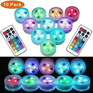Luces LED sumergibles con control remoto- LUXJET Velas LED para luces de te a prueba de agua- Luces LED RGB blancas super brillantes y calidas para eventos en fiestas Florero Linterna Iluminacion