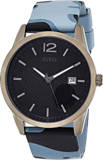 GUESS Mens Quartz Watch, Analog Display and Silicone Strap - W0991G6