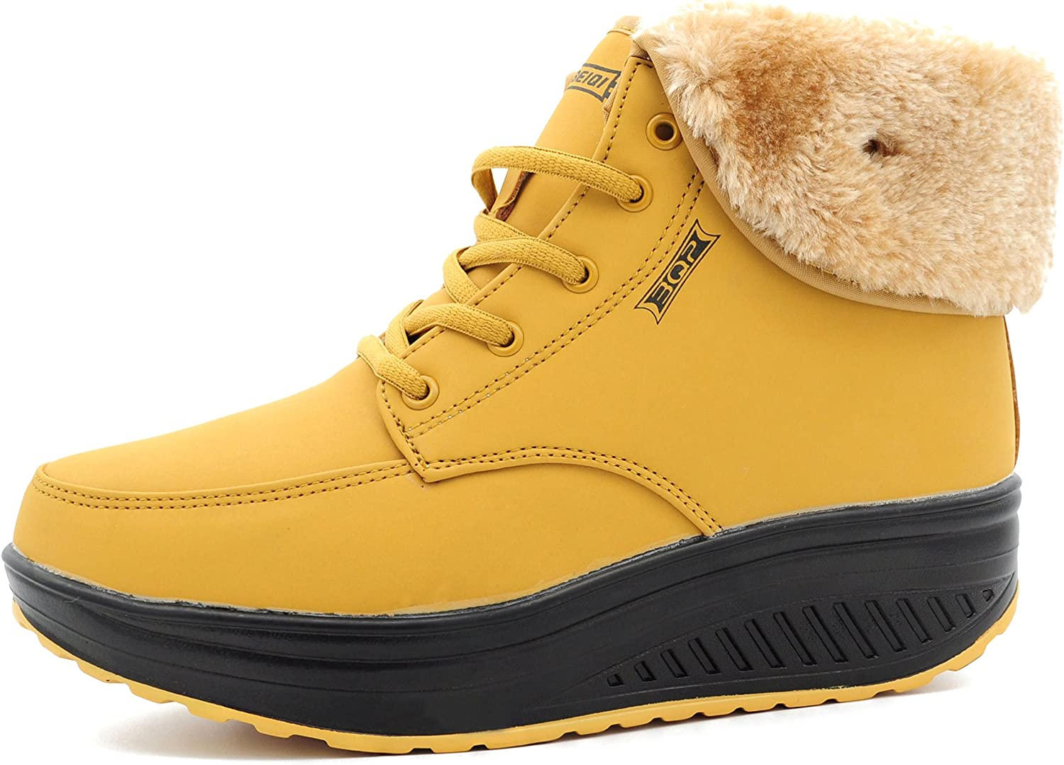ABDVOOD Womens Fur Lined Walking shoes Shape UPS High Top Wedges Platform Fitness Sneakers by
