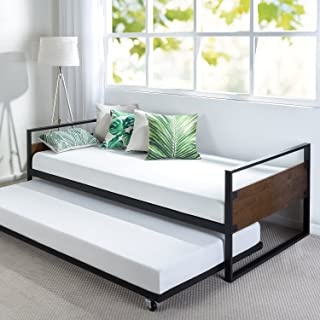 Zinus Suzanne Twin Daybed and Trundle Frame Set / Premium Steel Slat Support / Daybed and Roll Out Trundle Accommodate Twin Size Mattresses Sold Separately
