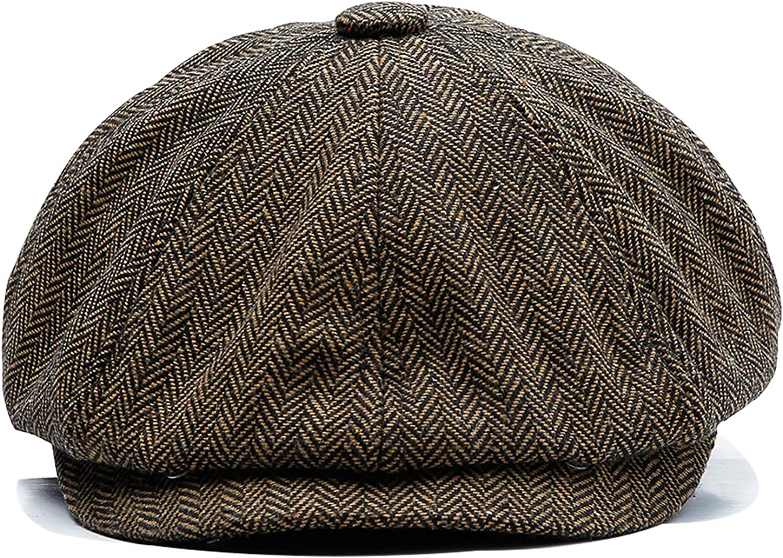 Ueither Unisex Gorras de Boina Sombreros Baker Boy Newsboy Casquillo Plano 8 Panel Herringbone Tweed Flat Cap Gatsby Hat